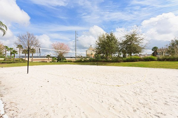 The volleyball court at Reunion Resort