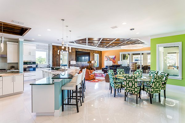 There are loads of cool living spaces in this Florida vacation rental