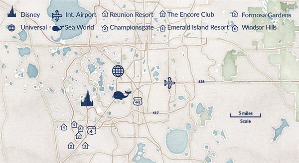 A map showing the different resorts in Orlando, Florida
