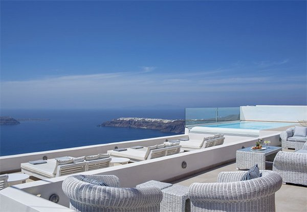 This incredible villa overlooks Santorini's volcano