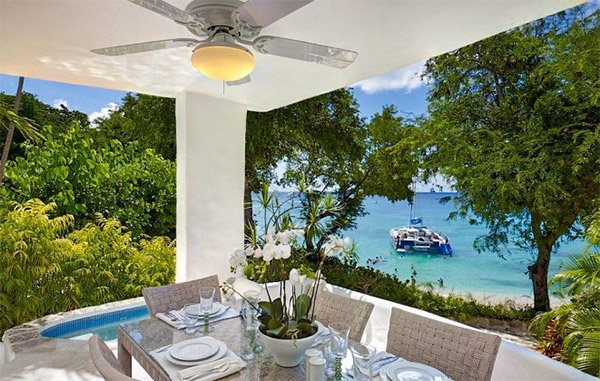 This beachfront villa is in Merlin Bay, Barbados