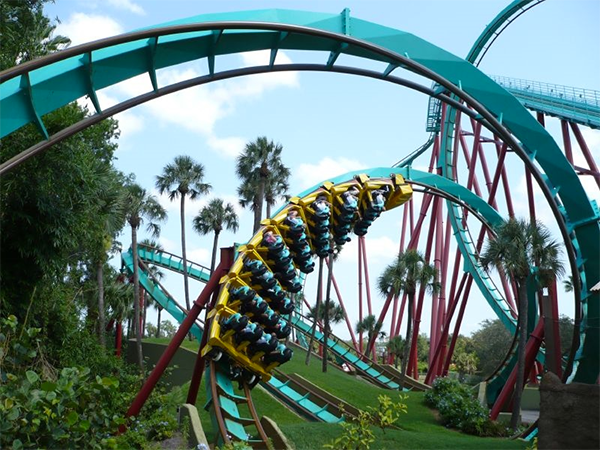 Kumba rollercoaster ride in Orlando, Florida