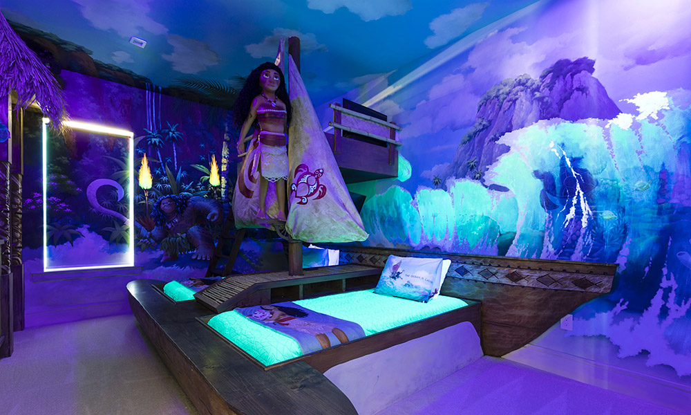 The Moana themed room at Reunion Resort 2600
