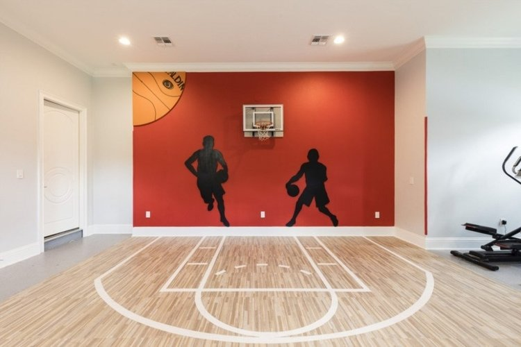 Indoor basketball court with fully-equipped gym
