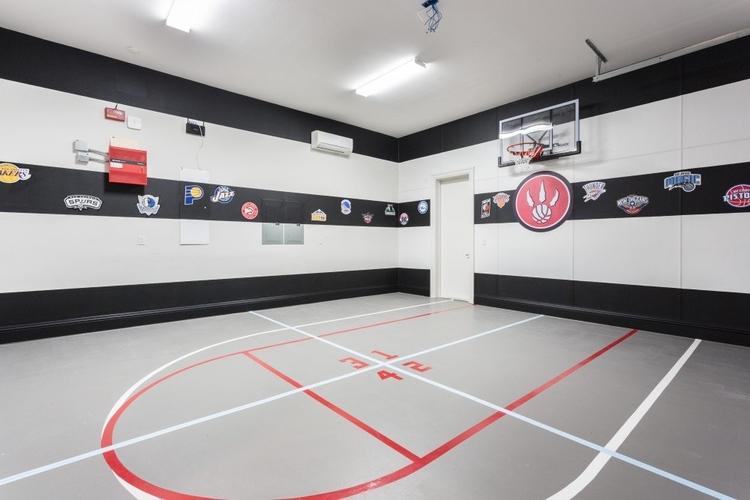 Monochrome indoor basketball court