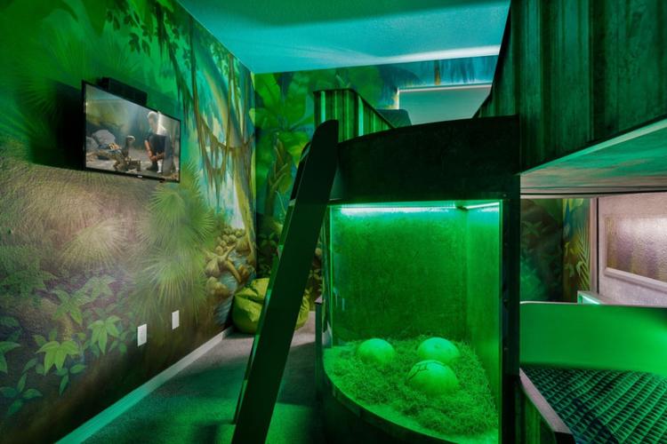 Green dinosaur themed kids bedroom with dinosaur eggs