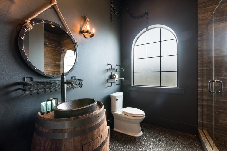 medieval themed en-suite bathroom with walk-in shower