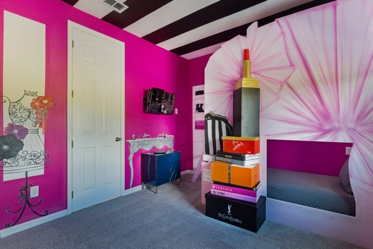 Pink fashion-themed room with custom-built bunk bed