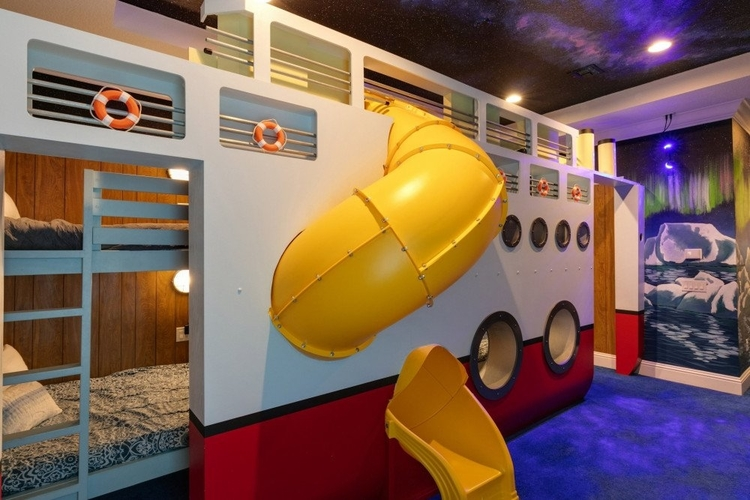 Cruise ship themed bunk bed with slide