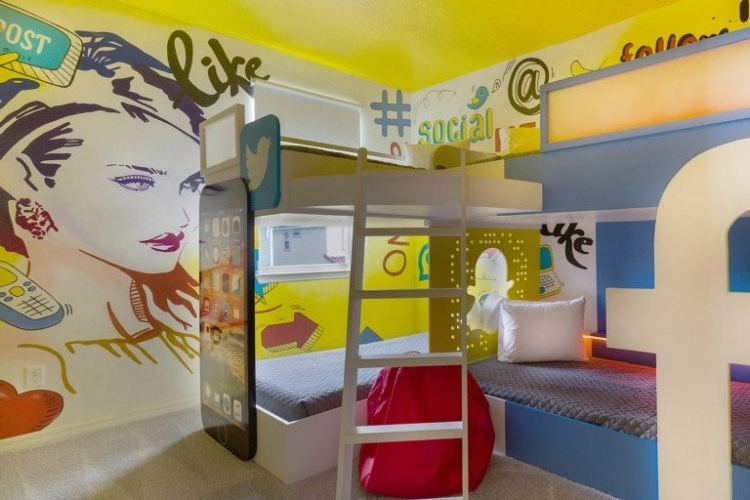 Social media themed room with custom-built bunkbed