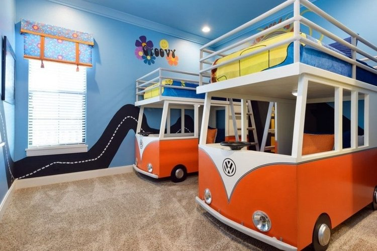 1960's style themed bedroom with VW camper van beds