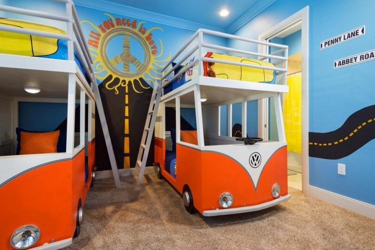 1960s themed bedroom with 2 camper van themed bunkbeds