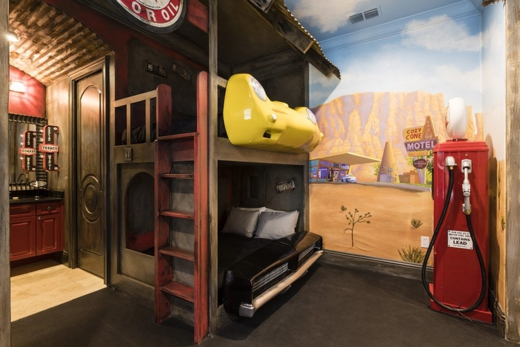 This car-themed bedroom even features petrol pumps and custom-built bunk beds