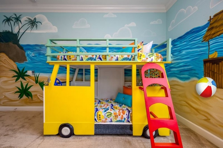 Beach themed bedroom with custom built camper van bunk bed