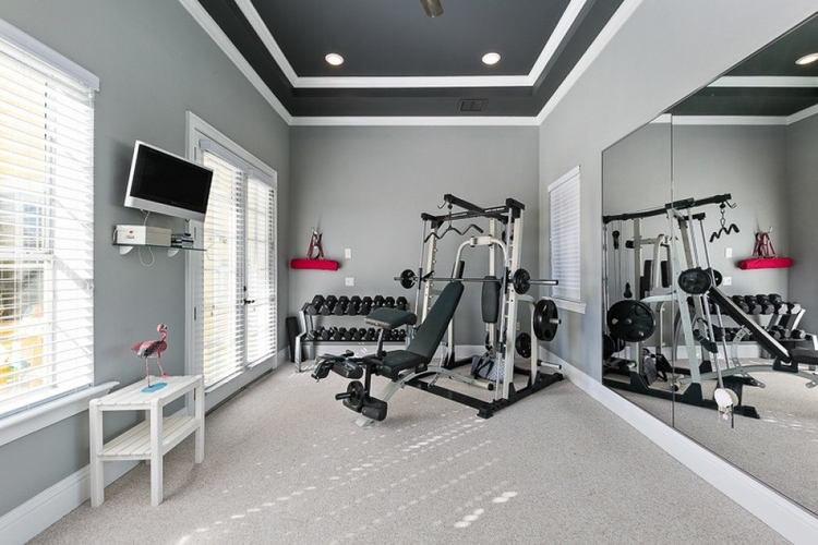 Modern gym with weights and weights machine