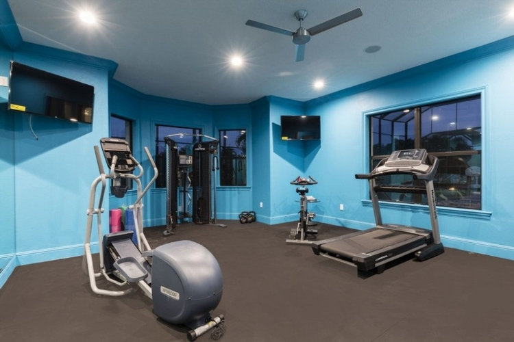 This private gym features a cross-trainer, weights and a treadmill