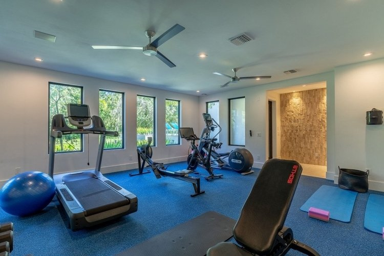 This fully equipped gym overlooks the garden