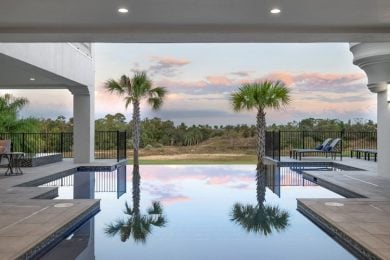 The pool overlooks the Reunion Resort golf course