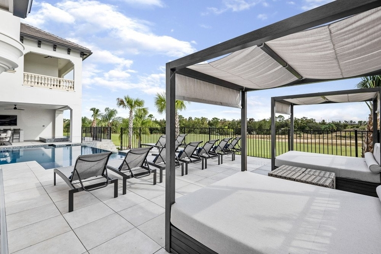 Outside you will find poolside sun loungers and canopy daybeds