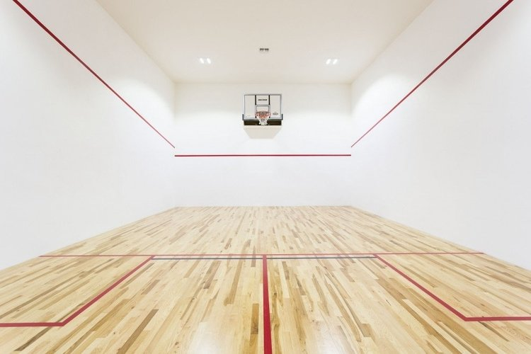 This luxury villa features an indoor basketball court