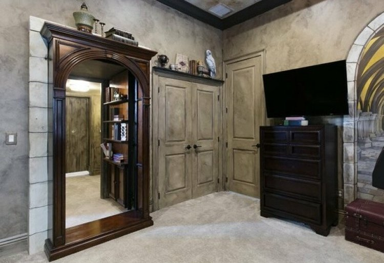 Behind the bookcase in this themed room you will find a secret room