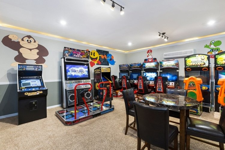 This themed game room features a great variety of different arcade machines