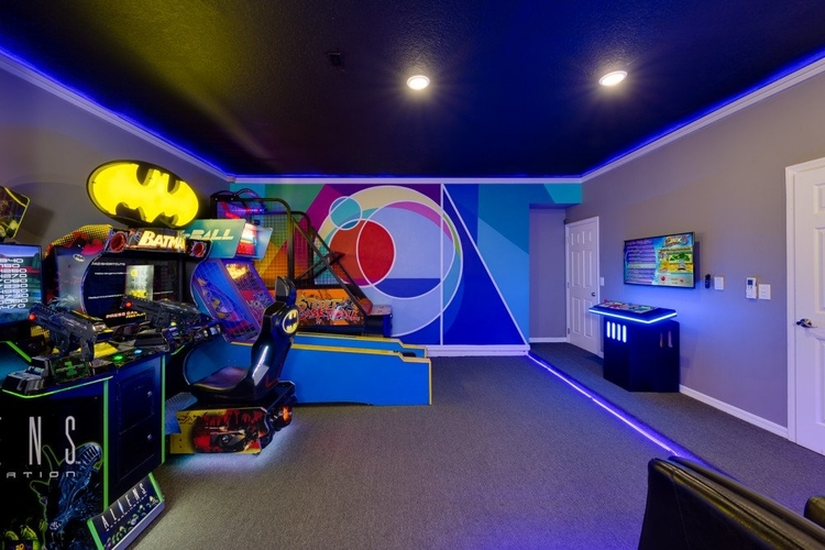 This colorful family-friendly game room is great for kids