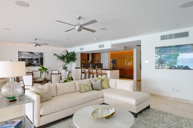 Open-plan living and dining area with comfortable seating