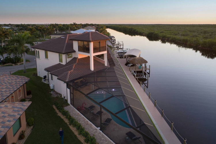 Built in 2019, this modern villa is located in one the most expensive streets in Cape Coral