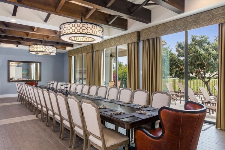 The huge dining room has pool views and seats up to 26 guests