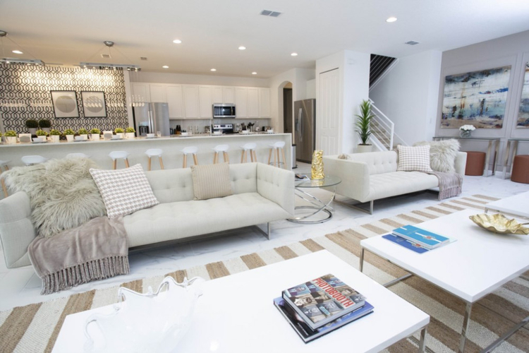 The villa has an open-plan living and dining area and a fully equipped kitchen