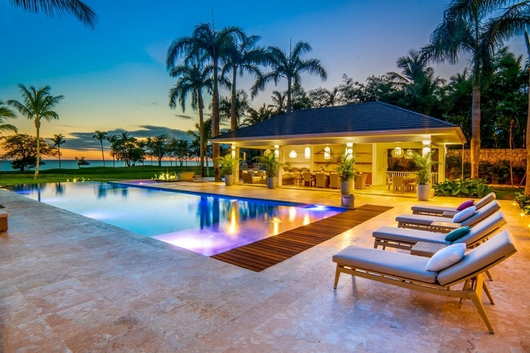 The villa offers uninterrupted views across the Caribbean Sea