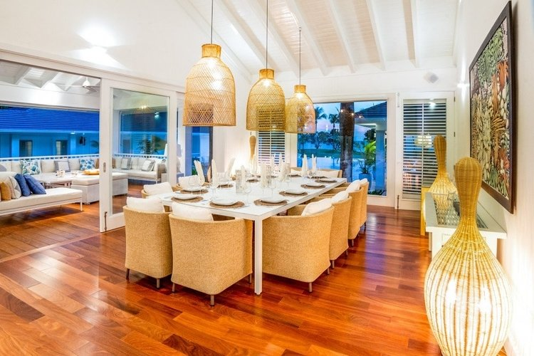 This Caribbean villa has an open plan living and dining area