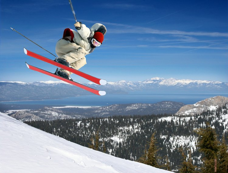Skier taking to the slopes of Lake Tahoe