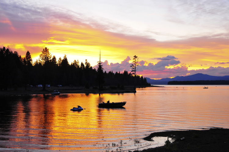 Fishing in Lake Tahoe at sunset