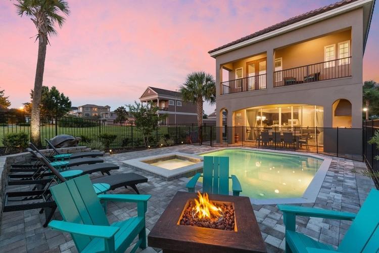 Outside pool at night, Resort Reunion 667