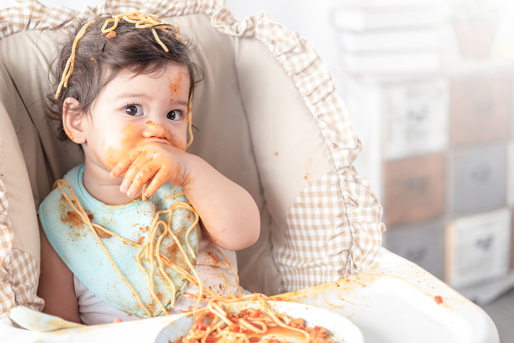 Highchair rental, funny messy meal