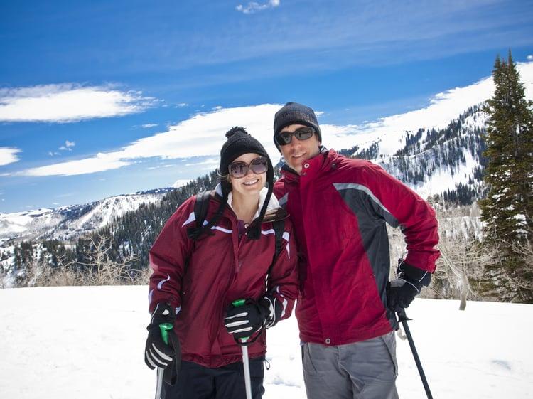 Couple skiing in Utah