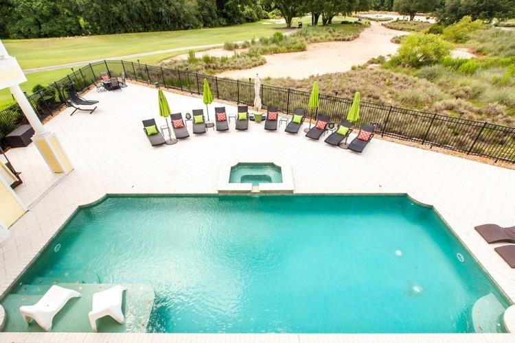 Private pool overlooking fairways