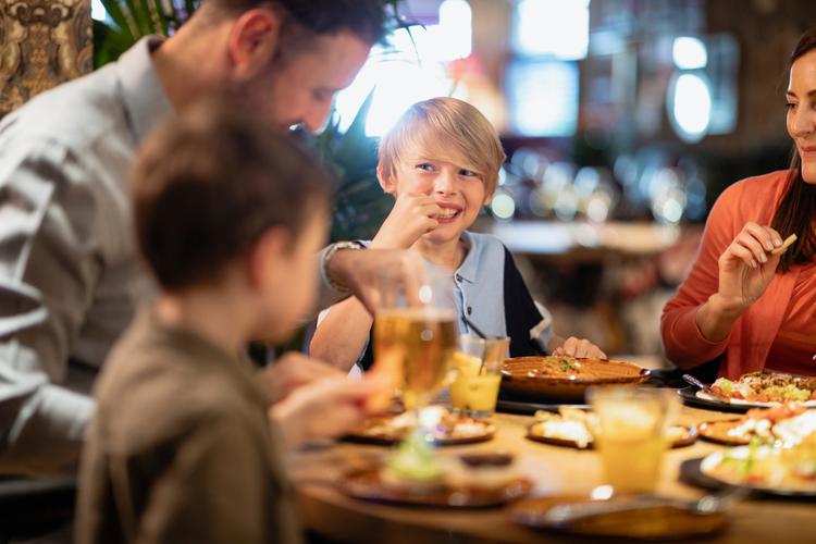 Family meal in restaurant