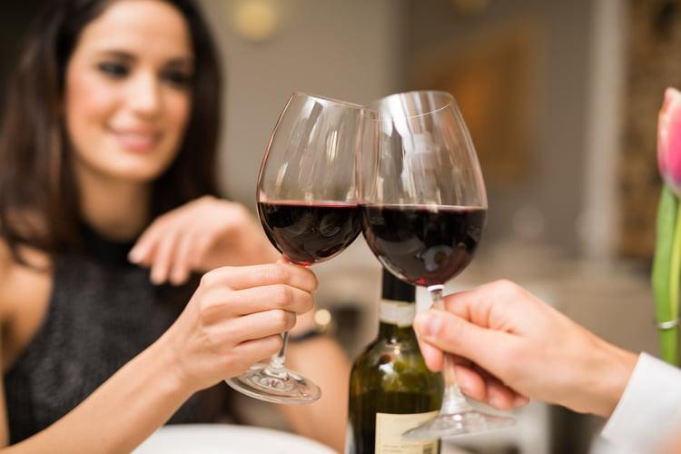 Wine drinking at a restaurant