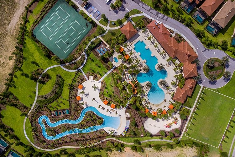Aerial view of Solterra Resort, one of the top Orlando resorts with water parks