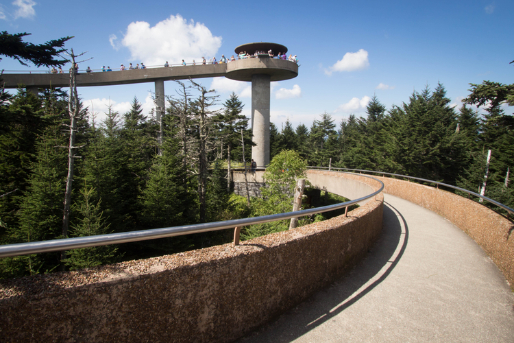 The observation tower at Clingmans Dome in the Great Smoky Mountains