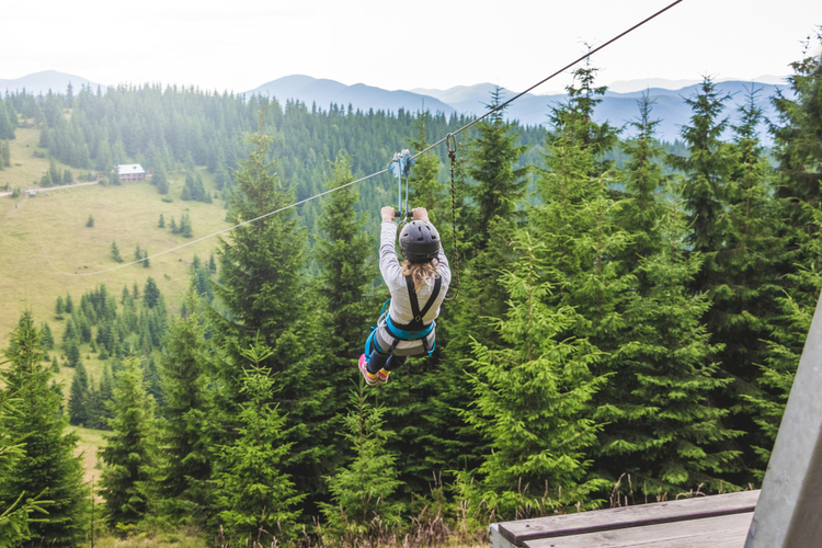 Zip lining in the Great Smoky Mountains