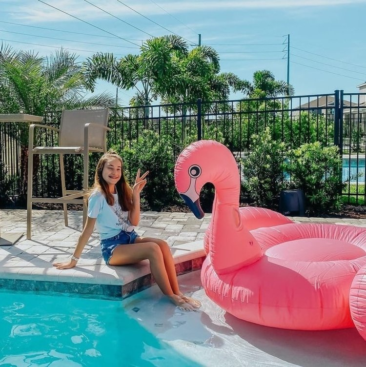 It's R Life loves the outdoor pool with complimentary flamingos