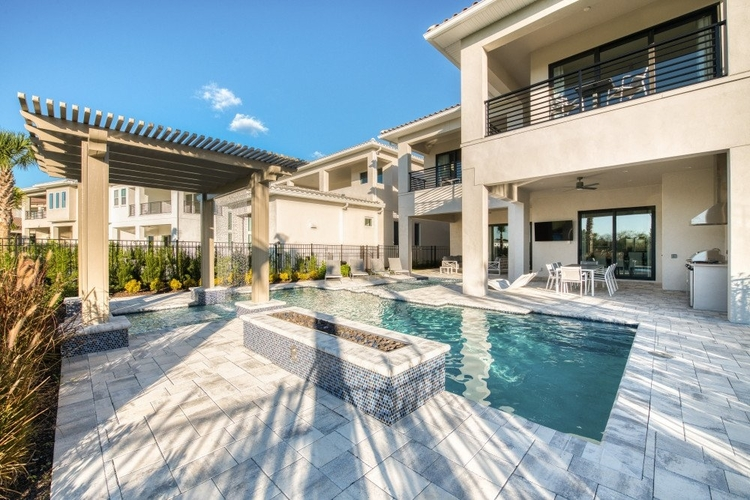 This private pool offers excellent views across the resort golf course