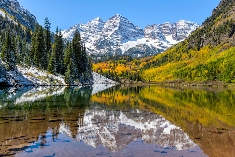 Maroon Lake in Colorado is a great beauty spot nearby Aspen.