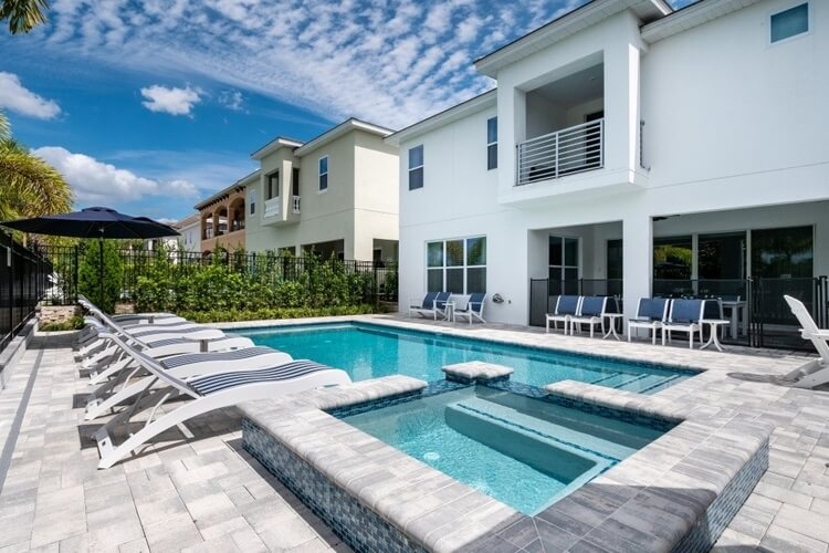If you're planning a BBQ, this spacious pool terrace has room for everyone