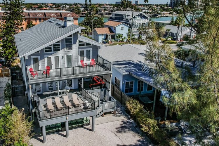 Treasure Island is home to this amazing pet-friendly beach home for 12.