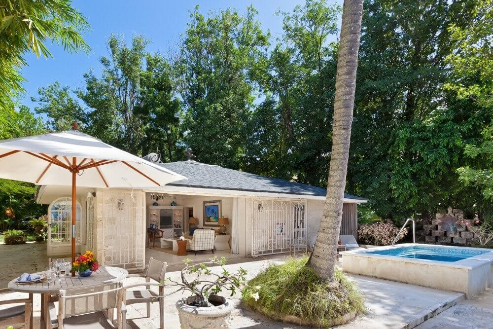 A small Barbados villa with a plunge pool and outdoor seating area
